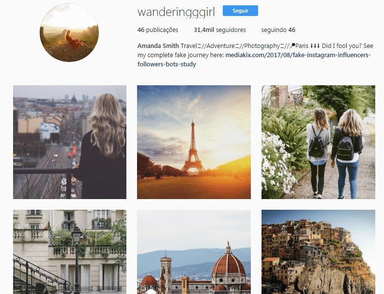 Fake nstagram Influencer Account Wanderingggirl - Influency.me